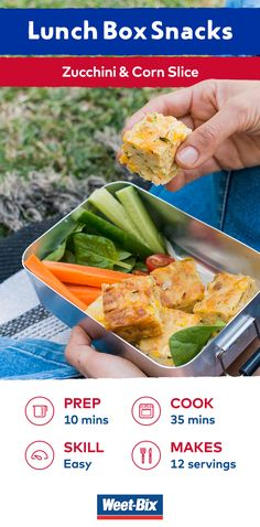 A simple twist on an old favourite, this quick and easy Zucchini and corn slice is great for midweek meals. Use the leftovers in school lunchboxes. View this recipe in our FREE recipe e-book by Masterchef winner Julie Goodwin. Download it now and be in the draw to win one of 2,000 hard copies! www.weetbix.com.au/lunchbox