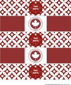 """FREE Canada Day Printable's-  Drink wraps, party logos, mini party logos, party flags, cupcake wraps, """"Happy Canada Day"""" Banner + spacers."""