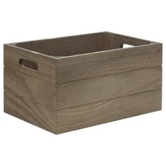 Bouclair Organic Wood Crate Grey 40 x 30 x 20 cm
