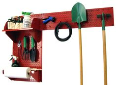 Wall Control Pegboard Garden Tool Board Organizer with Red Pegboard and Red Accessories