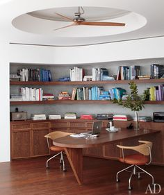 Ceiling Fan Nook. Love how modern and retro this looks!