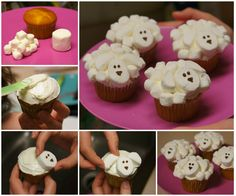 These extremely simple sheep cupcakes are so adorable !   Instructions with video--> http://wonderfuldiy.com/wonderful-diy-cute-marshmallow-sheep-cupcake/