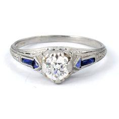 Platinum Art Deco 1920s Filigree European Cut Antique Diamond Engagement Ring