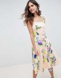 cefa0de17bdd ASOS DESIGN midi floral prom dress with square neck at asos.com