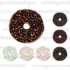 Printable Graphic Donut with Sprinkles Image Doughnuts Digital Collage Sheet Download Vintage Clip Art. Printable high resolution digital graphic image for iron on transfers, printing, t-shirts, papercrafts, tea towels, and more. Real antique art. For personal or commercial use. This digital graphic is high quality at 8½ x 11 inches large. Transparent background version included with all images.