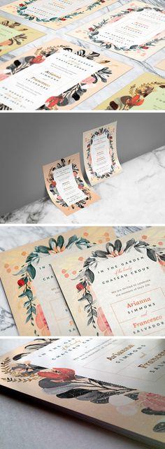 Blush Noir Wedding Invitations - download freebie by Pixelbuddha #freebies #wedding #weddinginvitations