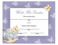 A pretty purple certificate full of stars for the worlds best a printable certificate for the worlds best grandmother with pretty butterflies and flowers on a yadclub Choice Image