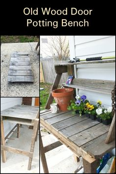 Do you need a potting bench? Well, you don't have to spend a hundred dollars to get one. You can have a potting bench for just a fraction of the cost by building it yourself using an old wood door! Here's how. Old Wood Doors, Get One, Recycling, Bench, Canning, Old Wooden Doors, Upcycle, Home Canning, Desk