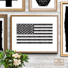 INSTANT DOWNLOAD: American flag with vintage letterpress effect  NO PHYSICAL PRINT INCLUDED  ★ 300DPI JPG FILES INCLUDED WITH PURCHASE ★ 1) 4x6 //