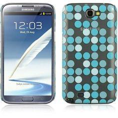 DW Crystal Skin Moda Dots Case for Samsung Galaxy Note 2 - Blue/Clear