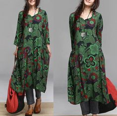 Washed cotton green print dress / irregular Maxi Dress by dreamyil, $98.00