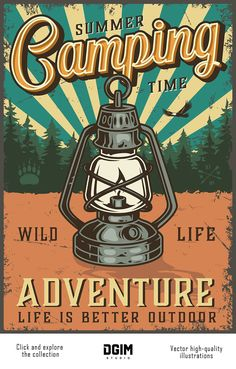 Colorful Vector Camping Poster with a lamp and forest on the Rock Poster, Plakat Design, Retro Wallpaper, Design Graphique, Life Is An Adventure, Adventure Travel, Retro Aesthetic, Vintage Travel Posters, Retro Vintage