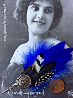ascot feather fascinator hair clip slide royal electric cobalt blue prom party L #somethingdifferent #CocktailSpecialOccasionWeddingflapper #wedding