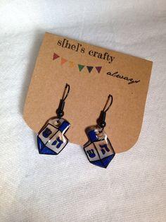 Hanukkah Dreidel Earrings, Shrink Plastic, shrink paper, shrinky dinks. by shescraftyalways on Etsy