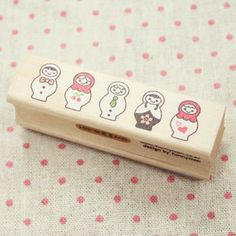 Russian Dolls Wood Stamp with a small Ink Pad FREE- 1pcs