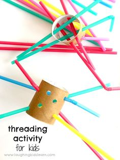 Fine motor threading with straws and cardboard tubes -.- Feinmotorisches Einfädeln mit Strohhalmen und Pappröhrchen – Laughing Kids Learn Fine motor threading with straws and cardboard tubes – Laughing Kids Learn, # threading motor - Fine Motor Activities For Kids, Motor Skills Activities, Toddler Learning Activities, Infant Activities, Fun Activities, Kids Learning, Educational Activities, Pre School Activities, Preschool Fine Motor Skills