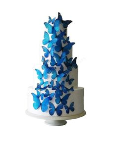 The Stella - 30 Edible Butterflies - Wedding Cake Decorations, Cake Toppers, Cake Design, Celebration Cakes. $23.00, via Etsy.