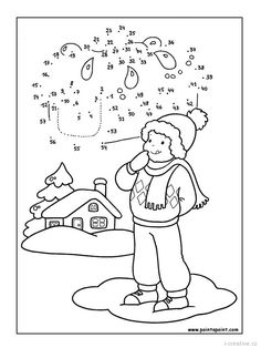 winter - connect dots Little Boy Games, Little Boys, Connect The Dots Game, Coloring Pages Winter, Number Drawing, Dotted Line, Games For Toddlers, Winter Theme, Le Point