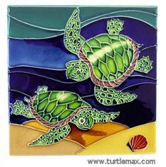 Two Sea Turtles Large Art Tile