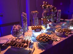 Mitzvah dessert table in gold and silver by DiptOnline.com Dessert Table, Table Decorations, Holiday, Desserts, Silver, Gold, Home Decor, Tailgate Desserts, Vacations