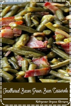 Smothered Bacon Green Bean Casserole Are you bored of serving the same old green bean casserole? My Smothered Bacon Green Bean Casse. Best Thanksgiving Recipes, Thanksgiving Side Dishes, Thanksgiving 2020, Thanksgiving Cakes, Vegetables For Thanksgiving, Holiday Recipes, Traditional Thanksgiving Recipes, Thanksgiving Appetizers, Thanksgiving Outfit