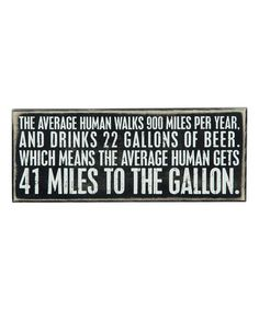 Another great find on #zulily! 'Miles to the Gallon' Box Sign #zulilyfinds