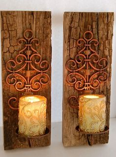 """Reclaimed Barnwood sconce-Copper Iron Swirl and Reclaimed Wood Sconces 16"""" Tall 6"""" across  total width is 6"""" - Barnwood Driftwood 2"""" thick by BeachDazzled on Etsy"""