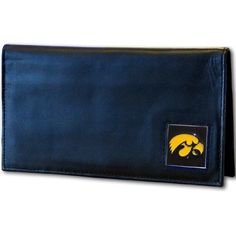Iowa Hawkeyes Leather Checkbook Cover by Siskiyou. $16.99. Genuine Napa Grain Leather. Fully Cast and Enameled Team Emblem. Officially Licensed. Packaged in a gift tin. NCAA Iowa Hawkeyes Leather Checkbook Cover