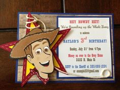 Handmade Woody Birthday Inviations// try making my own but more colorful more baby like