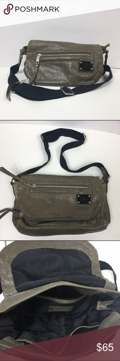 L.A.M.B Stone Grey/Green Purse Great bag that can hold a lot! Streak is adjustable and can be worn on the shoulder or cross body. Used and the leather looks a little discolored on the back but it's very subtle. No trades L.A.M.B. Bags