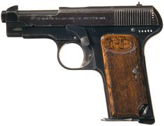 Beretta's first auto pistol, the 1915, was built in response to Italy's need for sidearms during World War I. It was available in 7.65mm caliber and introduced Beretta's signature open-top slide.