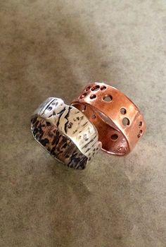 Plumber's leftover pipe / sterling silver rings : Barbara Beamiss