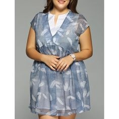 Plus Size Feather Print Cap Sleeve Fake Dress