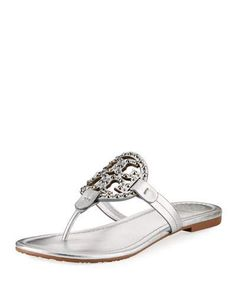 b49eba9b8bd3a Tory Burch Miller Flat Metallic Leather Slide Sandals with Embellished Logo