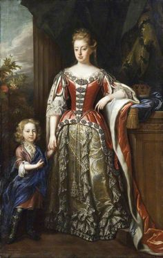 Lady Elizabeth Percy (1667–1722), Duchess of Somerset, and Her Son, Algernon Seymour (1684–1750), Earl of Hertford, Later 7th Duke of Somerset  by John Closterman