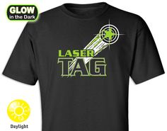 Laser Tag Star Glow-in-the-Dark T-shirt - Great as a laser tag party favor instead of the junky goody bags! Our T-shirts will light up in the dark at night or in a cosmic black-light atmosphere during the party. Lazer Tag Birthday Party, Laser Tag Birthday, Laser Tag Party, 16th Birthday, Birthday Ideas, Bowling Invitations, Bowling T Shirts, Bowling Party, Dark Ink