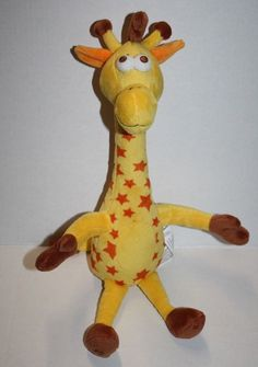 Giraffe Toys R Us Geoffrey Stuffed Plush Yellow with Orange Stars Soft Toy… - Toys R Us Geoffrey, Blankets And Beyond, Giraffe Toy, Bitty Baby, Security Blanket, Zoo Animals, Ugly Christmas Sweater, Orange, Yellow