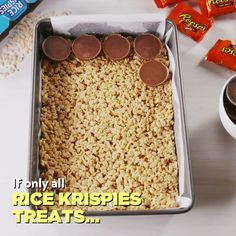 It's not that traditional rice krispies aren't good — they're just a little boring and safe. They're over-the-top and surprising in a way that everyone, including krispies treats purists, will love. Use gf Rice Krispies Easy Desserts, Delicious Desserts, Dessert Recipes, Yummy Food, Dessert Bars, Tasty, Healthy Desserts, Healthy Drinks, Think Food