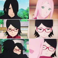 OMG Mama Sakura and Papa Sasuke hugging sad Sarada  So cute ❤️❤️❤️