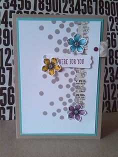 I like this card! all Stampin' Up! material. dotty angles, blendabilities, petite petals