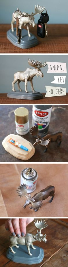 """Use a plastic animal toy, wooden plaque and a touch of your favorite spray paint to make this freestanding """"handy helper"""" to hold keys, sunglasses and other entryway odds and ends."""