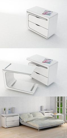Table/Stand: Nightstand with integrated puzzle pieced beside table