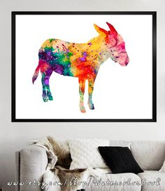 Donkey Watercolor Print Fine Art Print by WatercolorBook on Etsy