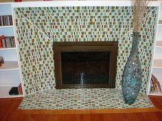 Art, Exciting Big Surround Fireplace Glass: Mesmerizing Glass Mosaic Fireplace Surround