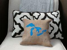 Bright Blue Great Lakes 12 x 12 Burlap Pillow by LinaandVi