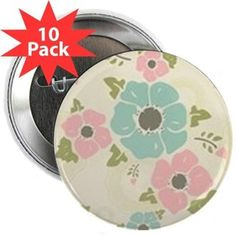 "Nostalgic flowers 2.25"" Button (10 pack) Beige seamless vintage pattern ""Nostalgic flowers""  $18.19"