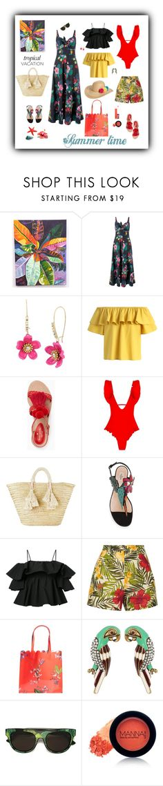 """""""Tropical Polyvore"""" by sherry7411 ❤ liked on Polyvore featuring Croton, Monsoon, Betsey Johnson, Chicwish, Kate Spade, Giselle, MSGM, Miguelina, Ted Baker and Marc Jacobs"""