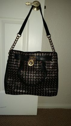 Michael Kors Hamilton Large Studded Tote Leather Black  #MichaelKors #TotesShoppers