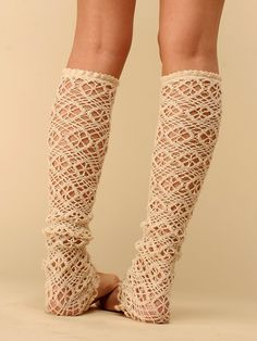 Crocheted leg warmers. I'd slip them over a pair of brightly colored tights.