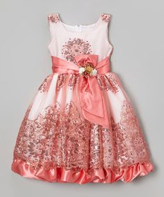 Loving this Coral Sequin Floral Dress - Infant, Toddler & Girls on #zulily! #zulilyfinds